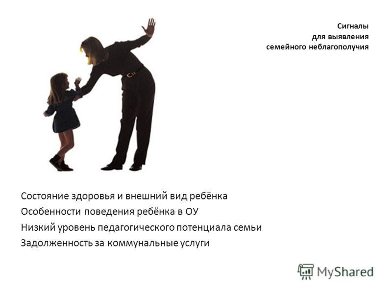 Сигналы для выявления семейного неблагополучия Состояние здоровья и внешний вид ребёнка Особенности поведения ребёнка в ОУ Низкий уровень педагогического потенциала семьи Задолженность за коммунальные услуги