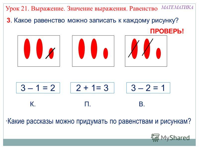 3. Какое равенство можно записать к каждому рисунку? К.П.В. 3 – 1 = 22 + 1= 33 – 2 = 1 МАТЕМАТИКА ПРОВЕРЬ! ·Какие рассказы можно придумать по равенствам и рисункам? Урок 21. Выражение. Значение выражения. Равенство