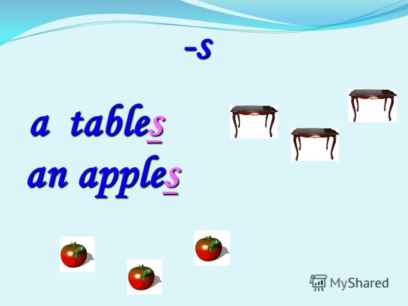 -s -s table table a s an apple apples
