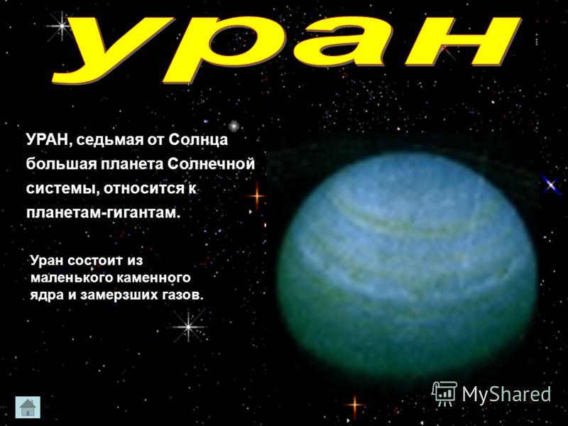УРАН, седьмая от Солнца большая планета Солнечной системы, относится к планетам-гигантам. Уран состоит из маленького каменного ядра и замерзших газов.
