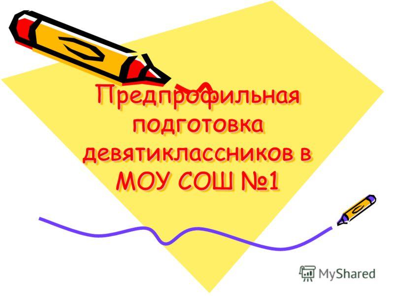Предпрофильная подготовка девятиклассников в МОУ СОШ 1