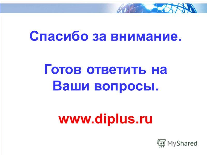 Спасибо за внимание. Готов ответить на Ваши вопросы. www.diplus.ru