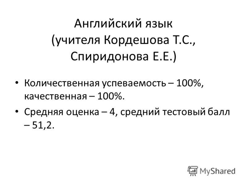 Английский язык (учителя Кордешова Т.С., Спиридонова Е.Е.) Количественная успеваемость – 100%, качественная – 100%. Средняя оценка – 4, средний тестовый балл – 51,2.