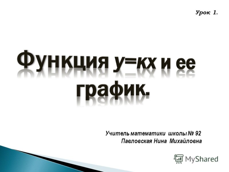 Учитель математики школы 92 Павловская Нина Михайловна Урок 1.