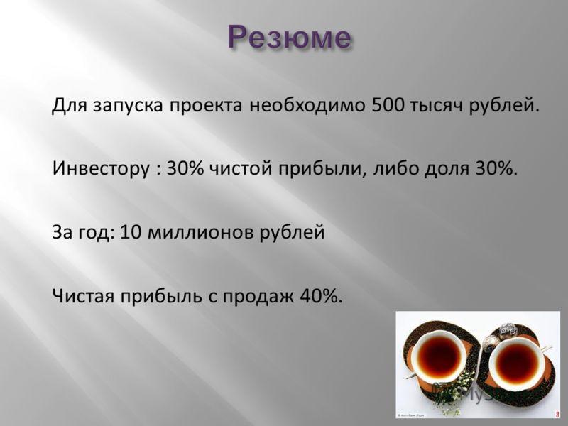 Для запуска проекта необходимо 500 тысяч рублей. Инвестору : 30% чистой прибыли, либо доля 30%. За год: 10 миллионов рублей Чистая прибыль с продаж 40%.
