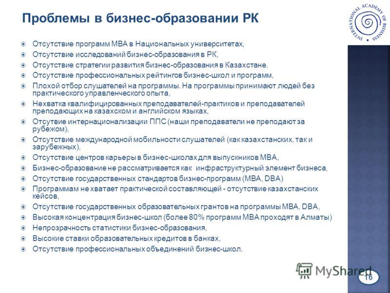 Отсутствие программ МВА в Национальных университетах, Отсутствие исследований бизнес-образования в РК, Отсутствие стратегии развития бизнес-образования в Казахстане. Отсутствие профессиональных рейтингов бизнес-школ и программ, Плохой отбор слушателе