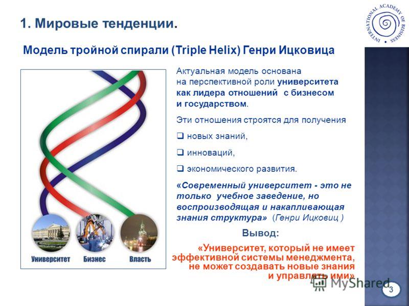 Актуальная модель основана на перспективной роли университета как лидера отношений с бизнесом и государством. Эти отношения строятся для получения новых знаний, инноваций, экономического развития. «Современный университет - это не только учебное заве