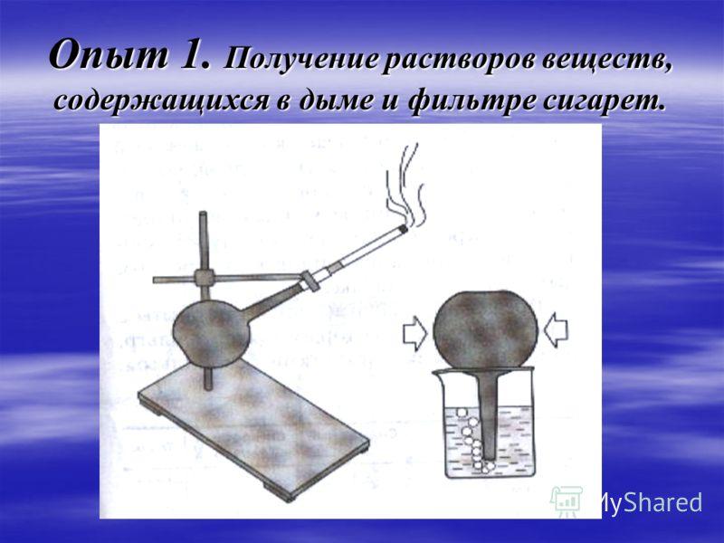 Опыт 1. Получение растворов веществ, содержащихся в дыме и фильтре сигарет.