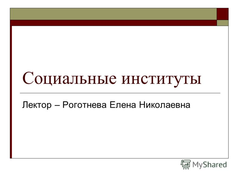 Социальные институты Лектор – Роготнева Елена Николаевна