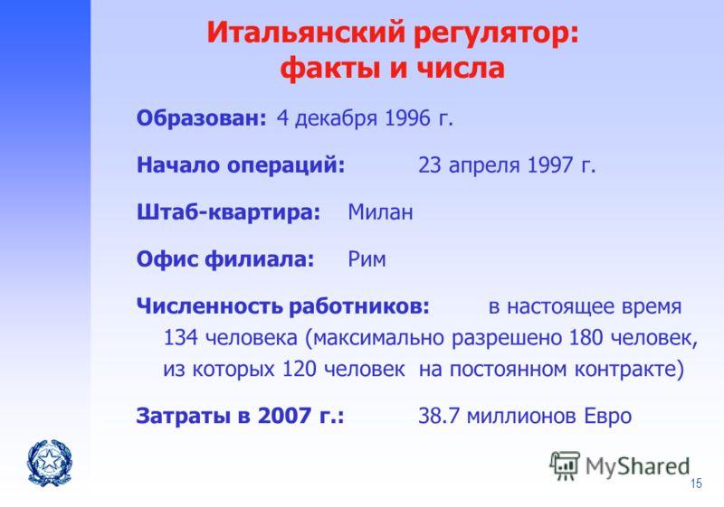 15 Образован: 4 декабря 1996 г. Начало операций: 23 апреля 1997 г. Штаб-квартира:Милан Офис филиала:Рим Численность работников: в настоящее время 134 человека (максимально разрешено 180 человек, из которых 120 человек на постоянном контракте) Затраты