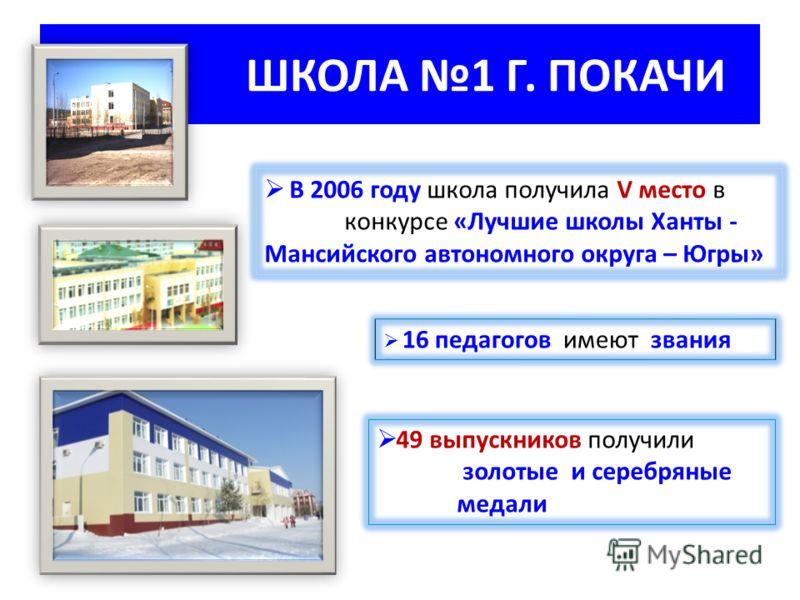 ШКОЛА 1 Г. ПОКАЧИ В 2006 году школа получила V место в конкурсе «Лучшие школы Ханты - Мансийского автономного округа – Югры» 16 педагогов имеют звания 49 выпускников получили золотые и серебряные медали