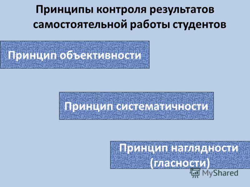 Принципы контроля результатов самостоятельной работы студентов Принцип объективности Принцип систематичности Принцип наглядности (гласности)
