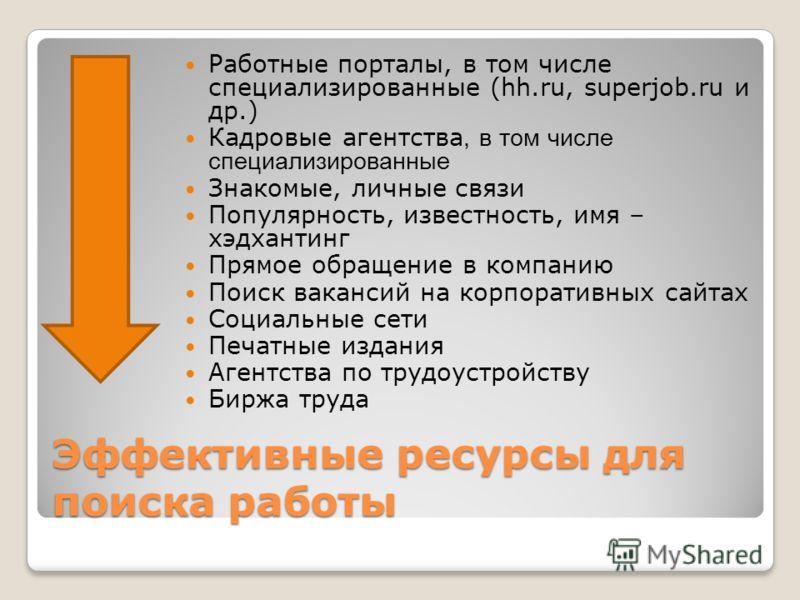 Эффективные ресурсы для поиска работы Работные порталы, в том числе специализированные (hh.ru, superjob.ru и др.) Кадровые агентства, в том числе специализированные Знакомые, личные связи Популярность, известность, имя – хэдхантинг Прямое обращение в