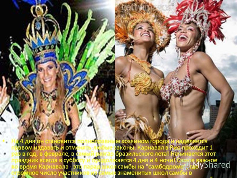 На 4 дня он становится полноправным хозяином города и наделяется правом издавать и отменять любые законы. Карнавал в Рио проходит 1 раз в год, в феврале, в самый разгар бразильского лета! Начинается этот праздник всегда в субботу и продолжается 4 дня