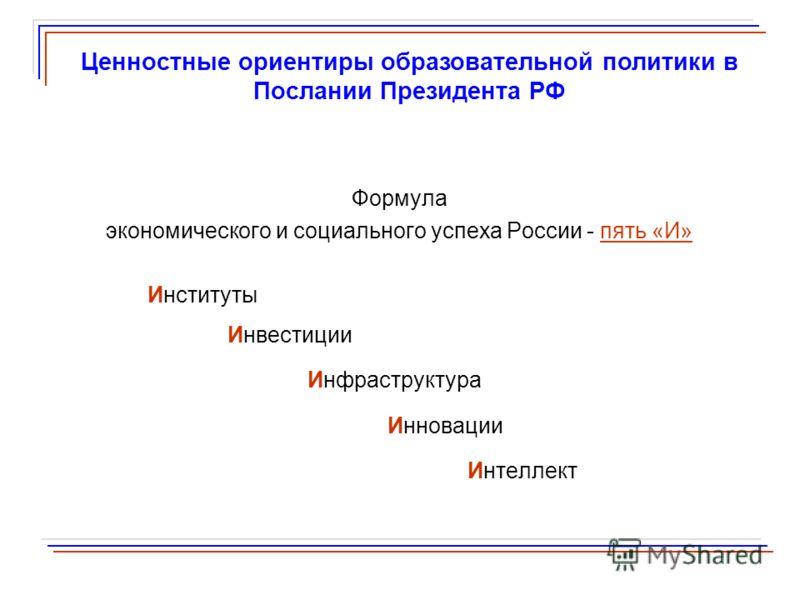Формула экономического и социального успеха России - пять «И» Институты Инвестиции Инфраструктура Инновации Интеллект Ценностные ориентиры образовательной политики в Послании Президента РФ