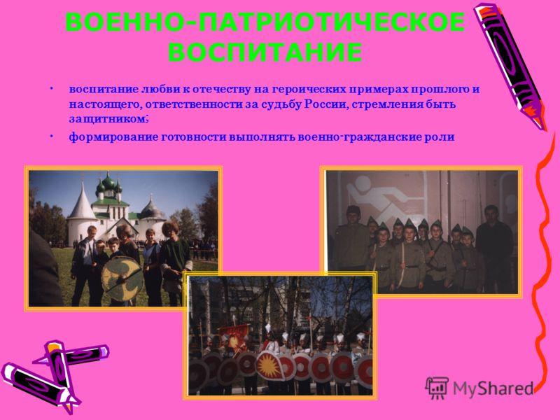 ВОЕННО-ПАТРИОТИЧЕСКОЕ ВОСПИТАНИЕ воспитание любви к отечеству на героических примерах прошлого и настоящего, ответственности за судьбу России, стремления быть защитником; формирование готовности выполнять военно-гражданские роли