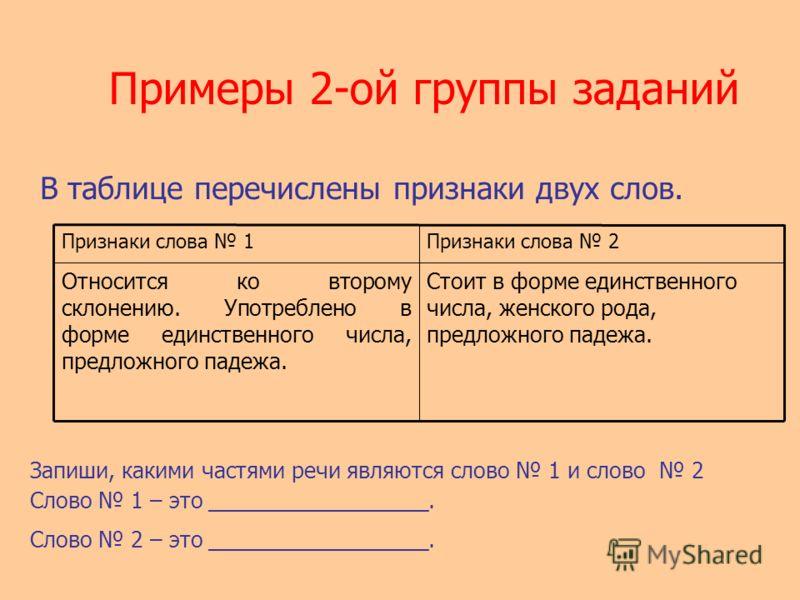 Примеры 2-ой группы заданий В таблице перечислены признаки двух слов. Запиши, какими частями речи являются слово 1 и слово 2 Слово 1 – это __________________. Слово 2 – это __________________. Признаки слова 1Признаки слова 2 Относится ко второму скл
