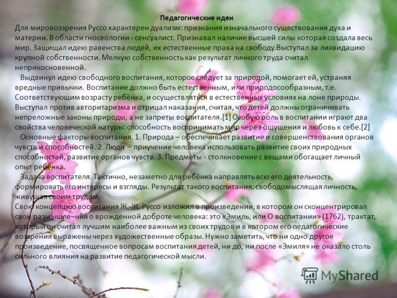 Педагогические идеи Для мировоззрения Руссо характерен дуализм: признания изначального существования духа и материи. В области гносеологии - сенсуалист. Признавал наличие высшей силы которая создала весь мир. Защищал идею равенства людей, их естестве