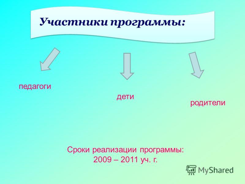 Участники программы: педагоги дети родители Сроки реализации программы: 2009 – 2011 уч. г.