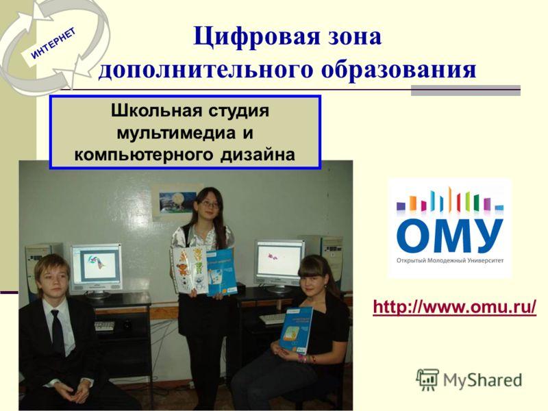 Цифровая зона дополнительного образования Школьная студия мультимедиа и компьютерного дизайна http://www.omu.ru/ ИНТЕРНЕТ