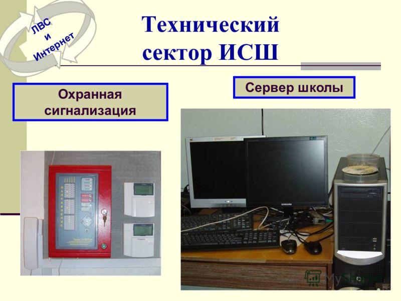 Технический сектор ИСШ Сервер школы Охранная сигнализация ЛВС и Интернет