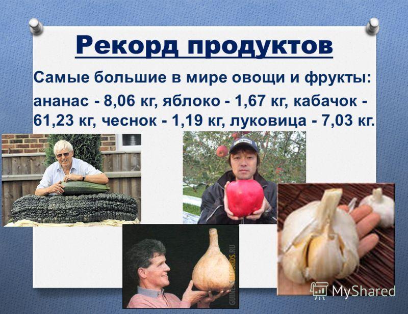 Рекорд продуктов Самые большие в мире овощи и фрукты : ананас - 8,06 кг, яблоко - 1,67 кг, кабачок - 61,23 кг, чеснок - 1,19 кг, луковица - 7,03 кг.