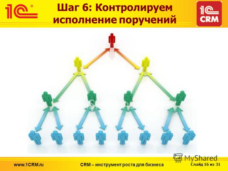 Слайд 16 из 31 www.1CRM.ruCRM – инструмент роста для бизнеса Шаг 6: Контролируем исполнение поручений