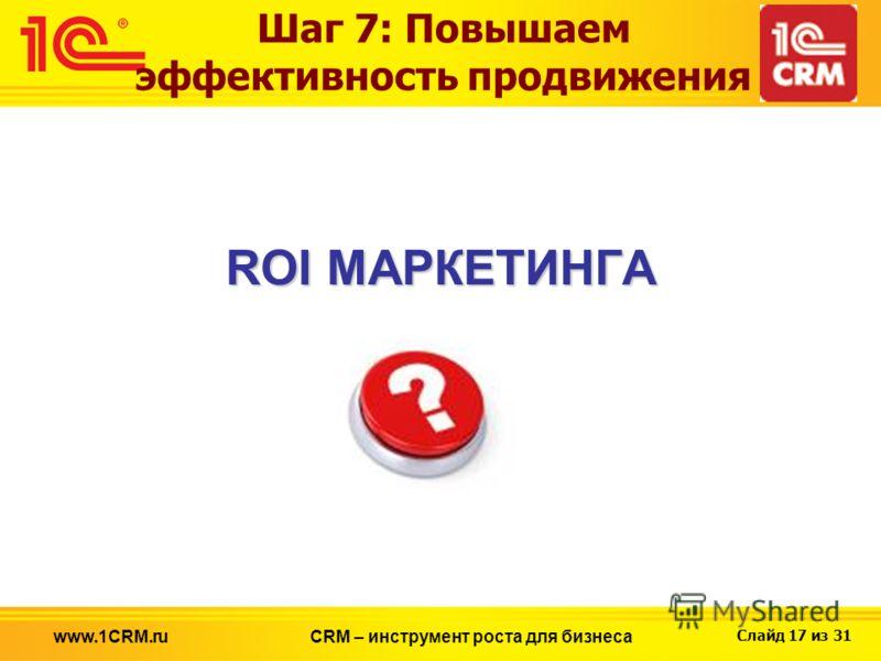 Слайд 17 из 31 www.1CRM.ruCRM – инструмент роста для бизнеса Шаг 7: Повышаем эффективность продвижения ROI МАРКЕТИНГА