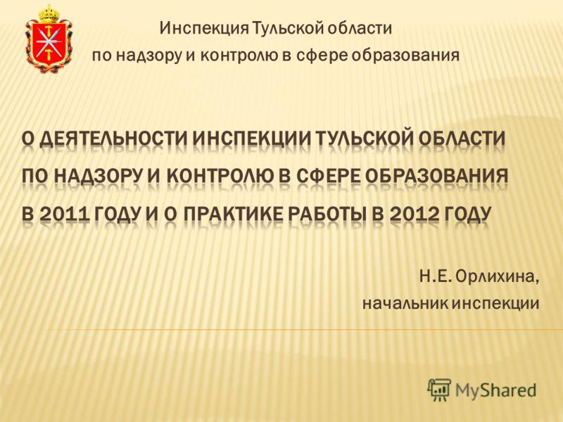 Н.Е. Орлихина, начальник инспекции Инспекция Тульской области по надзору и контролю в сфере образования