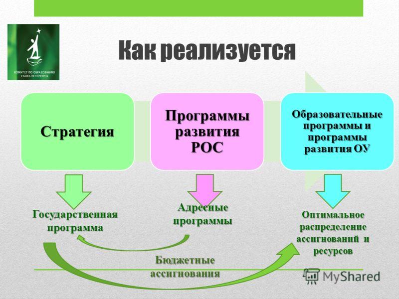 Как реализуется Стратегия Программы развития РОС Образовательные программы и программы развития ОУ Государственная программа Адресные программы Оптимальное распределение ассигнований и ресурсов Бюджетные ассигнования