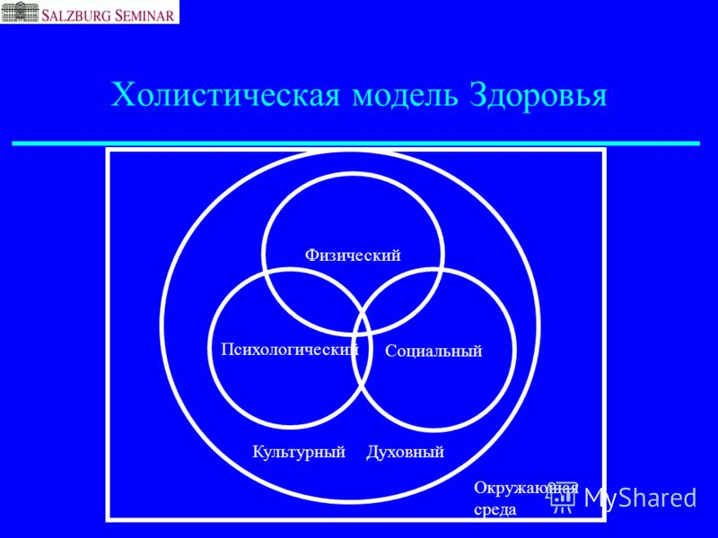 Холистическая модель Здоровья Физический Психологический Социальный КультурныйДуховный Окружающая среда