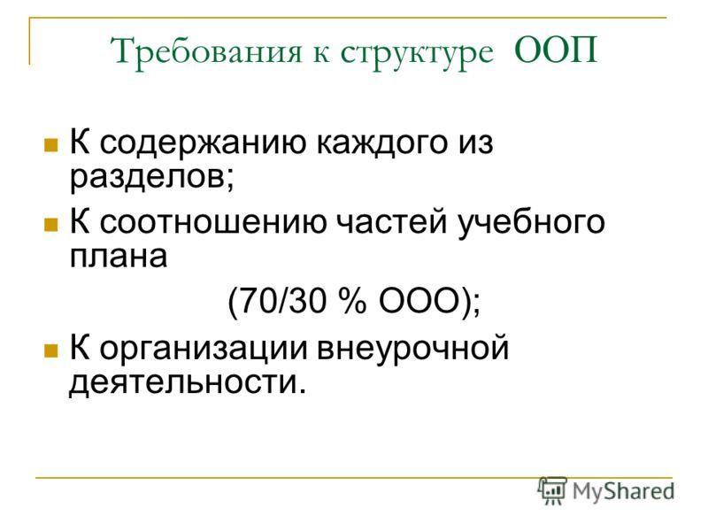 Требования к структуре ООП К содержанию каждого из разделов; К соотношению частей учебного плана (70/30 % ООО); К организации внеурочной деятельности.