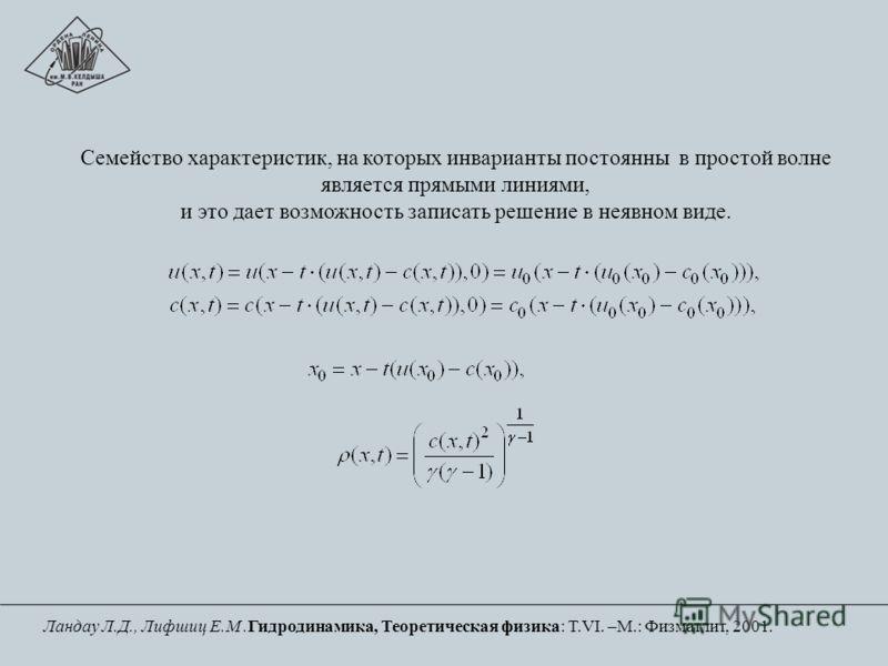 Семейство характеристик, на которых инварианты постоянны в простой волне является прямыми линиями, и это дает возможность записать решение в неявном виде. Ландау Л.Д., Лифшиц Е.М.Гидродинамика, Теоретическая физика: Т.VI. –М.: Физматлит, 2001.