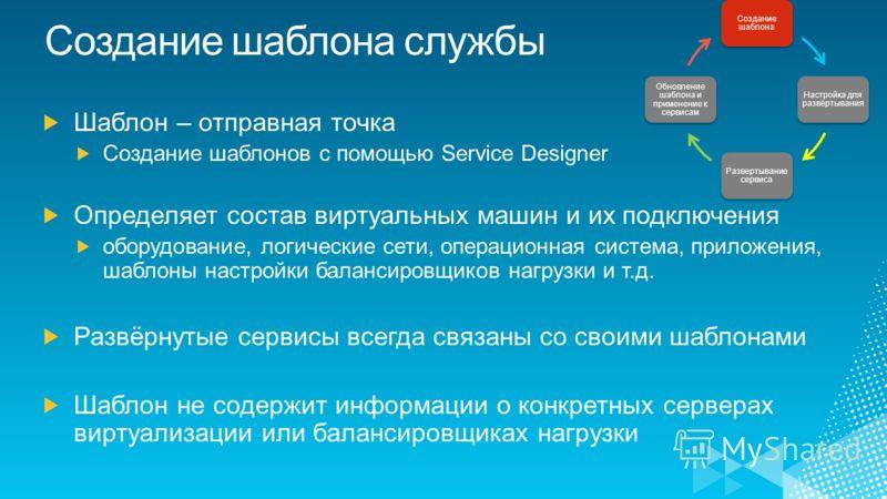 Создание шаблона Настройка для развёртывания Развертывание сервиса Обновление шаблона и применение к сервисам