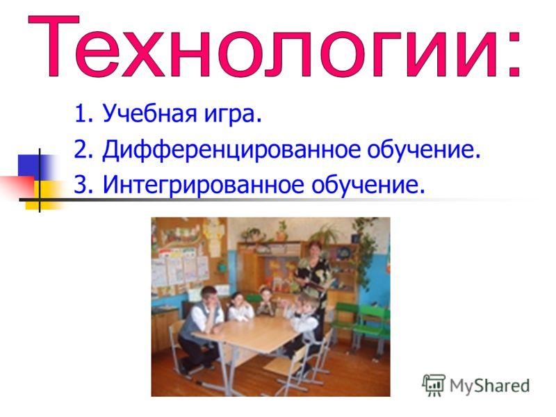 1. Учебная игра. 2. Дифференцированное обучение. 3. Интегрированное обучение.
