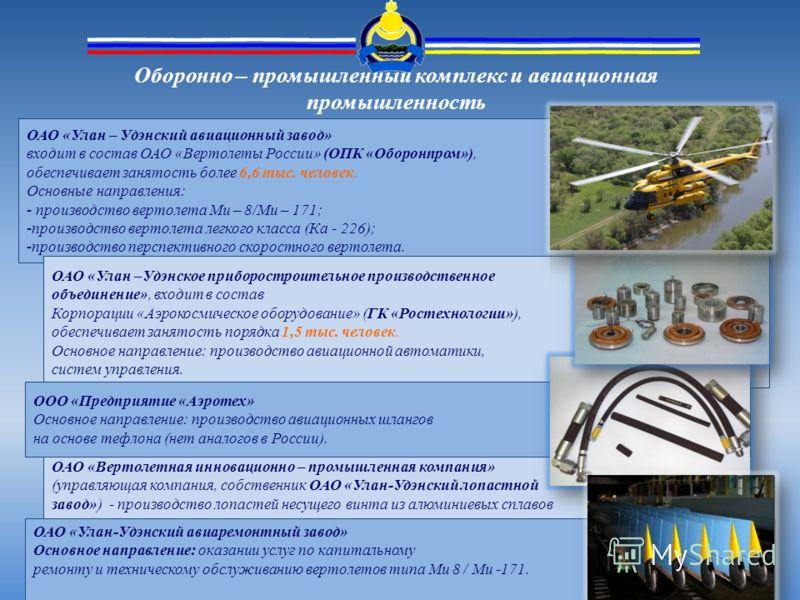 Оборонно – промышленный комплекс и авиационная промышленность ОАО «Улан – Удэнский авиационный завод» входит в состав ОАО «Вертолеты России» (ОПК «Оборонпром»), обеспечивает занятость более 6,6 тыс. человек. Основные направления: - производство верто