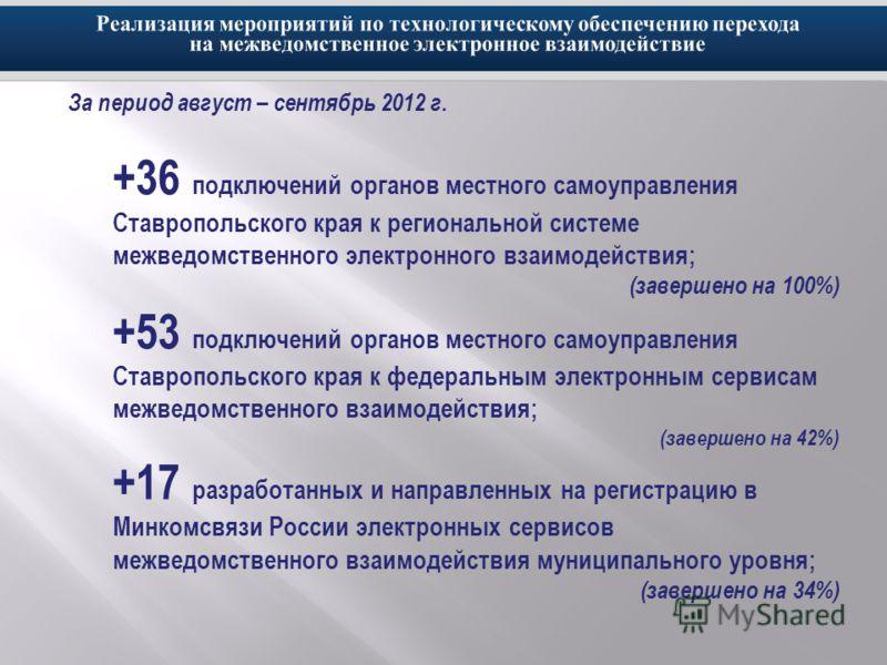 За период август – сентябрь 2012 г. +36 подключений органов местного самоуправления Ставропольского края к региональной системе межведомственного электронного взаимодействия; (завершено на 100%) +53 подключений органов местного самоуправления Ставроп