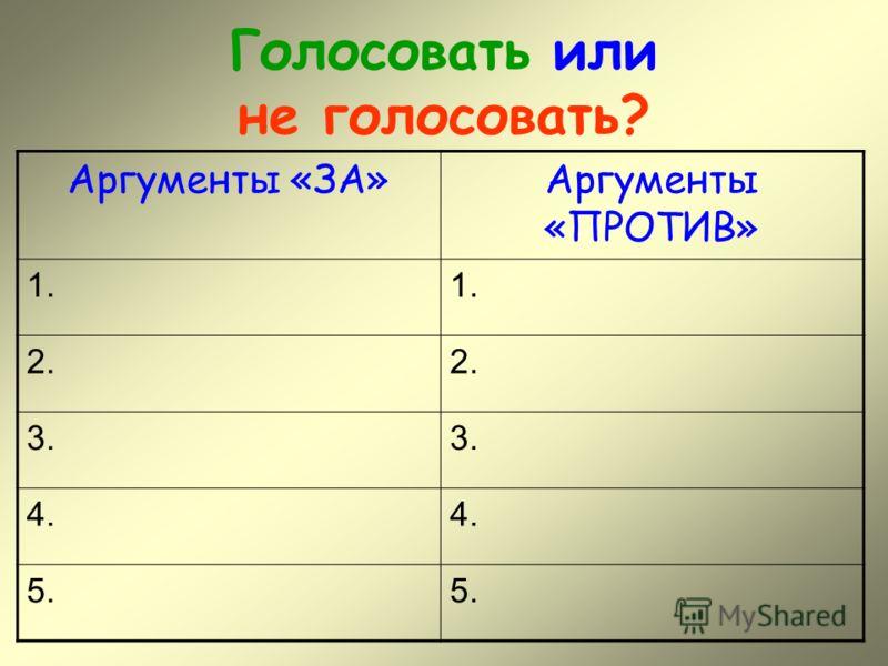 Голосовать или не голосовать? Аргументы «ЗА»Аргументы «ПРОТИВ» 1. 2. 3. 4. 5.
