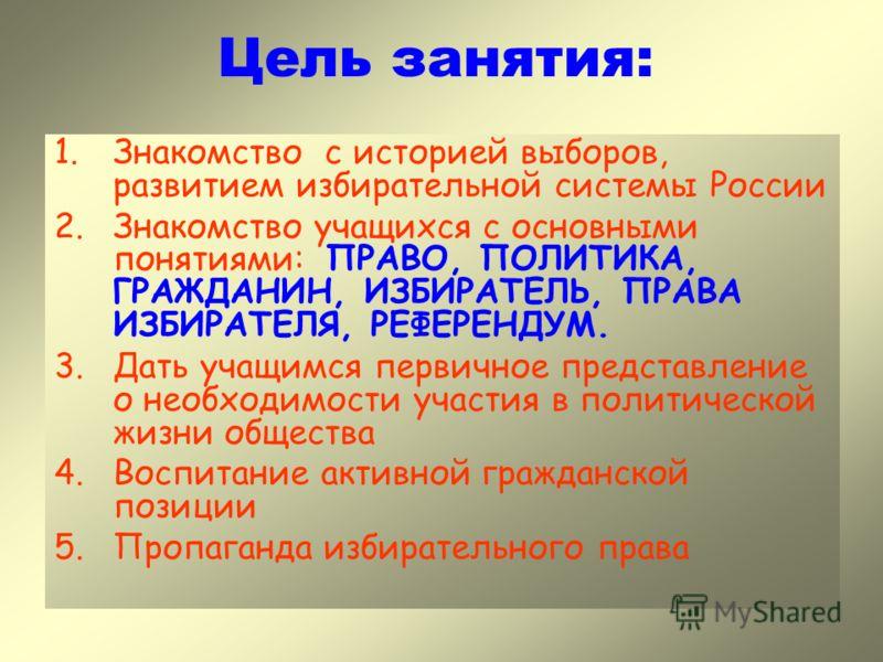 Цель занятия: 1.Знакомство с историей выборов, развитием избирательной системы России 2.Знакомство учащихся с основными понятиями: ПРАВО, ПОЛИТИКА, ГРАЖДАНИН, ИЗБИРАТЕЛЬ, ПРАВА ИЗБИРАТЕЛЯ, РЕФЕРЕНДУМ. 3.Дать учащимся первичное представление о необход