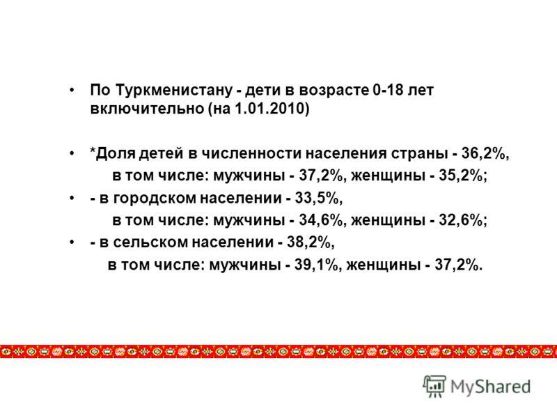 По Туркменистану - дети в возрасте 0-18 лет включительно (на 1.01.2010) *Доля детей в численности населения страны - 36,2%, в том числе: мужчины - 37,2%, женщины - 35,2%; - в городском населении - 33,5%, в том числе: мужчины - 34,6%, женщины - 32,6%;