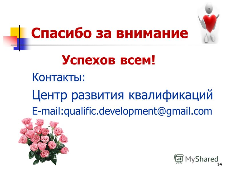 14 Спасибо за внимание! Успехов всем! Контакты: Центр развития квалификаций E-mail:qualific.development@gmail.com