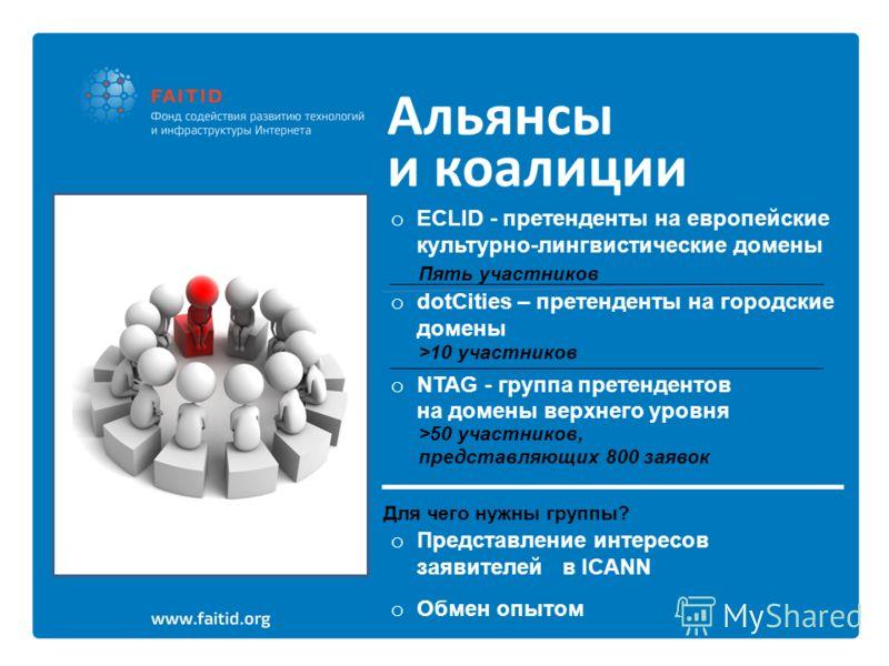 Альянсы и коалиции o ECLID - претенденты на европейские культурно-лингвистические домены o dotCities – претенденты на городские домены o NTAG - группа претендентов на домены верхнего уровня Пять участников >10 участников >50 участников, представляющи