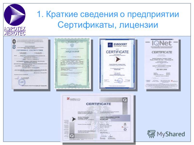 1. Краткие сведения о предприятии Сертификаты, лицензии