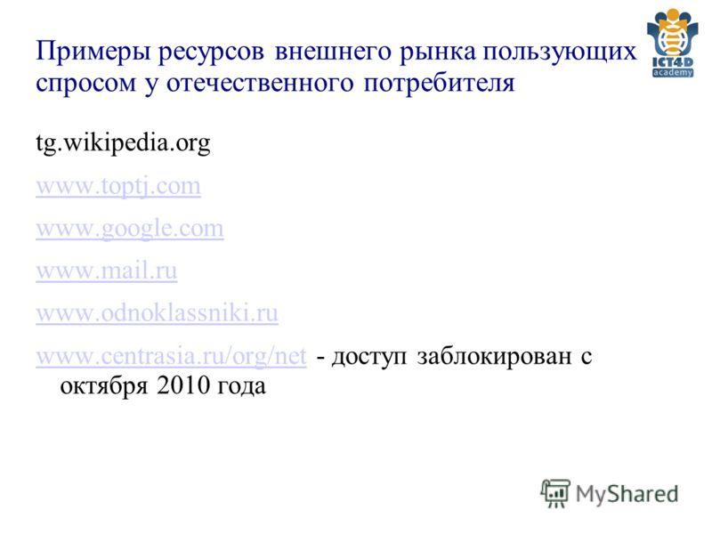 Примеры ресурсов внешнего рынка пользующих спросом у отечественного потребителя tg.wikipedia.org www.toptj.com www.google.com www.mail.ru www.odnoklassniki.ru www.centrasia.ru/org/netwww.centrasia.ru/org/net - доступ заблокирован с октября 2010 года