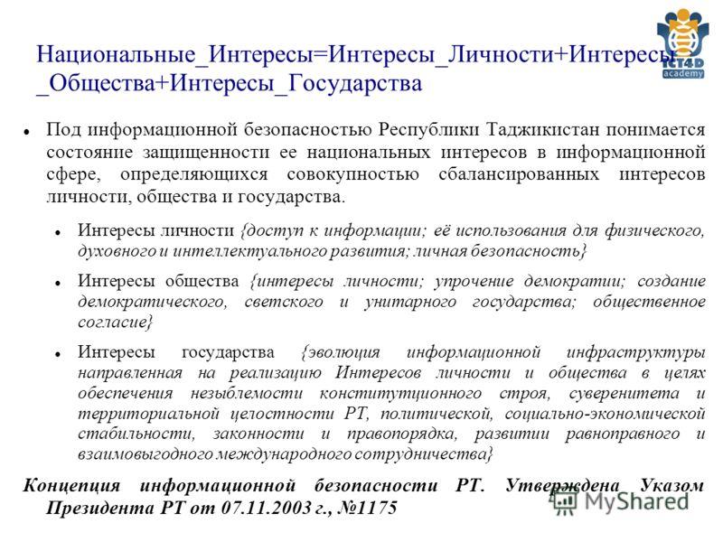 Национальные_Интересы=Интересы_Личности+Интересы _Общества+Интересы_Государства Под информационной безопасностью Республики Таджикистан понимается состояние защищенности ее национальных интересов в информационной сфере, определяющихся совокупностью с