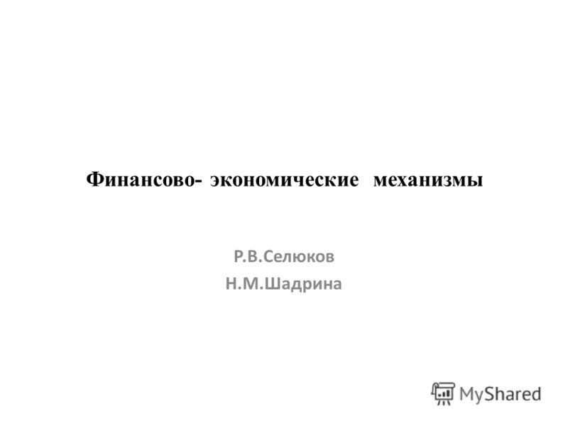 Финансово- экономические механизмы Р.В.Селюков Н.М.Шадрина