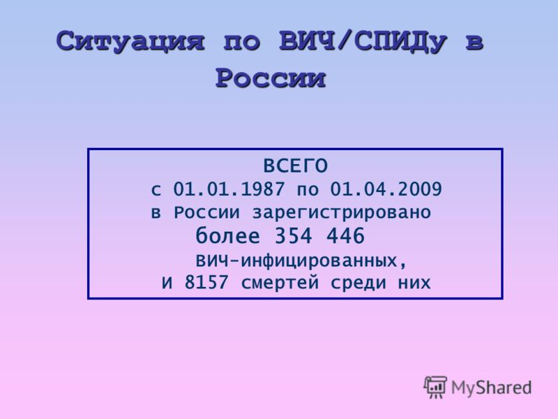 Ситуация по ВИЧ / СПИДу в России ВСЕГО с 01.01.1987 по 01.04.2009 в России зарегистрировано более 354 446 ВИЧ-инфицированных, И 8157 смертей среди них