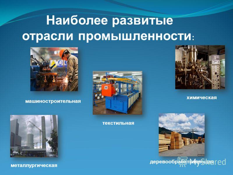Наиболее развитые отрасли промышленности : химическая деревообрабатывающая текстильная металлургическая машиностроительная