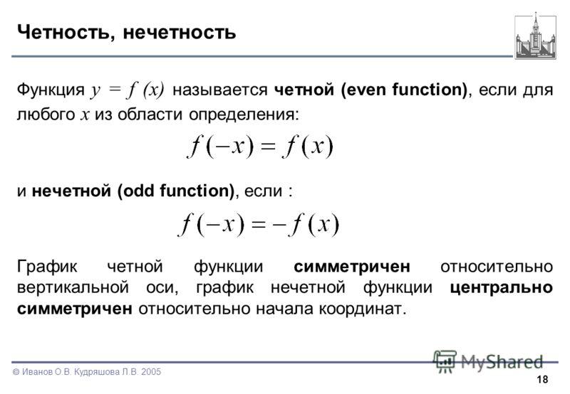 18 Иванов О.В. Кудряшова Л.В. 2005 Четность, нечетность Функция y = f (x) называется четной (even function), если для любого x из области определения: и нечетной (odd function), если : График четной функции симметричен относительно вертикальной оси,