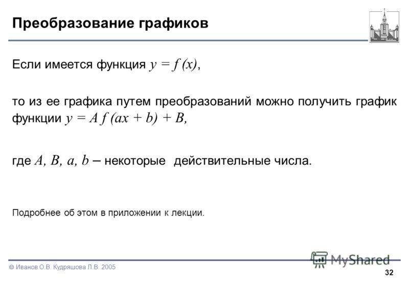 32 Иванов О.В. Кудряшова Л.В. 2005 Преобразование графиков Если имеется функция y = f (x), то из ее графика путем преобразований можно получить график функции y = A f (ax + b) + B, где A, B, a, b – некоторые действительные числа. Подробнее об этом в